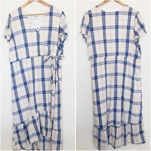 Dresses & Skirts - 2 for $25 blue plaid high low wrap dress